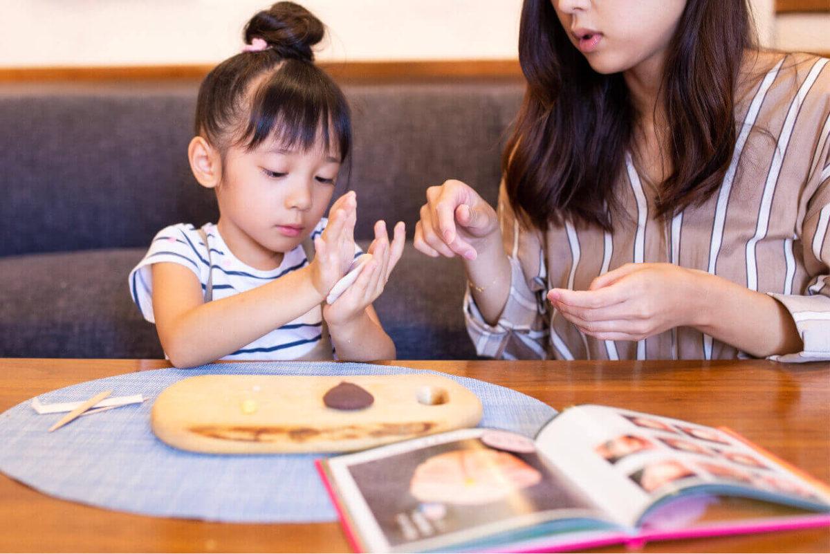 Wagashi Nerikiri kit with kids